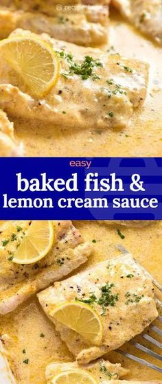 seafood recipes Dinner made real easy: this Baked Fish recipe comes with a Lemon Cream Sauce and is made in ONE baking dish! Yup, just throw it all in one pan, bake it, and you end up with a tender juicy fish in a creamy lemon sauce. Best Fish Recipes, Tilapia Fish Recipes, Salmon Recipes, Gourmet Recipes, Baking Recipes, Lemon Entree Recipes, Recipes With Fish, Recipes With Lemon, Baked Catfish Recipes
