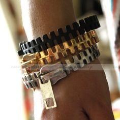 Gothic Punk Rock Fashion Unique Zipper Zip Shape Metal Bangle Bracelet 3 colors | eBay
