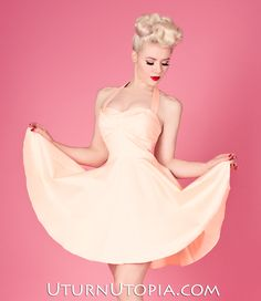 Peach Halter Dress Vintage Style Pin-Up [Peach-556] - $59.99 : Uturn Utopia, Retro footwear, Rockabilly Shoes, Vintage Inspired Clothing, jewelry, Steampunk