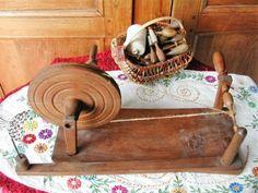 Bobinoir-Ancien-Rouet-a-Fuseaux-1900-Outil-en-Bois-Objet-du-XIXeme-Bobbins-Wheel