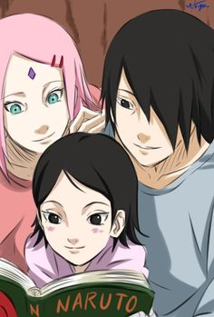 Sasusaku family! It'll be cool if that was a biography on Naruto they're reading.