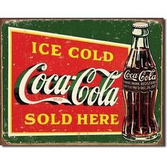 Bring this vintage,retro Coca-Cola canvas art print into your living space. This fantastic Coca-Cola Artwork will create a theme in any room. Our Vintage, retro canvas wall art is a very fresh, funky, fun and a colourful way to brighten up your home. Coca Cola Vintage, Vintage Tin Signs, Vintage Metal, Antique Signs, Pepsi, Coca Cola Ad, Always Coca Cola, Retro Ads, Sodas