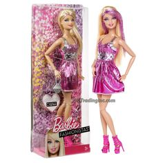 """Barbie Fashionistas 12"""" Doll - BARBIE (Y7487) in Pink with Silver Accent Party Dress Plus Ring and Purse"""