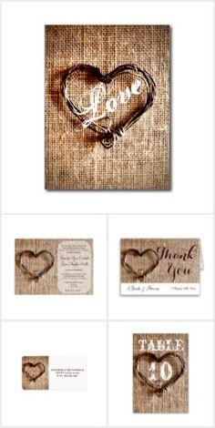 "Twine Heart Burlap Print Wedding Invitation Set--**EXPLORE an Amazing Collection of  ""Theme Matching Wedding Invitation Sets"" by Visiting... http://www.zazzle.com/weddinginvitationkit"
