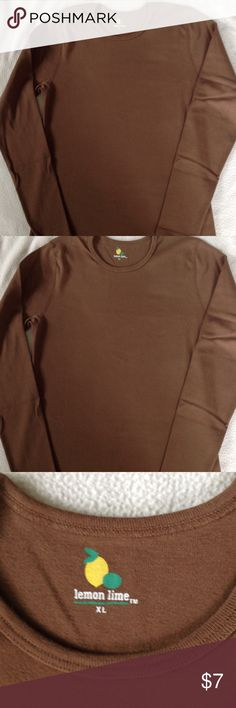 Brown long sleeve top 24 inches long, long sleeve, crew neck, 100% cotton, has a snug fit not loose fit. lemon lime Tops Tees - Long Sleeve
