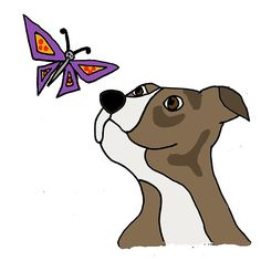 Cool Funky Funny Pitbull Puppy and Butterfly