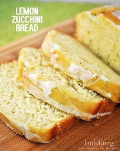 lemon zucchini bread and lemon glaze. .  mmmm. . .super moist . . . like a poke cake!  Try adding 1/2 to 1 cup blueberries. . . by candyred157