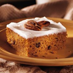 Harvest-Time Pumpkin Bars              Decadent cream cheese frosting and toasted almonds top these moist cinnamon-spiced bars.
