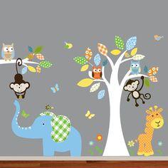 Giraffe,elephant,monkey nursery wall decal sticker vinyl tree and branch jungle decals girl