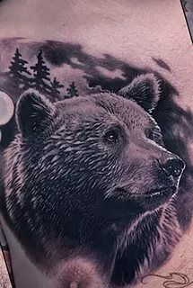 Forarm Tattoos, Body Art Tattoos, Bear Pictures, Funny Animal Pictures, Wojtek Bear, Tribal Bear Tattoo, Grizzly Bear Tattoos, Black Bear Decor, Native Tattoos