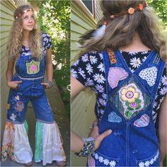 Vintage bib overalls, patchwork bib overalls,  zasra, festival style, boho, hippy, patchwork, hippy masa