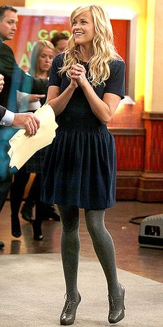 LOVE THIS OUTFIT! reese witherspoon+simple dress+tights+oxford booties=YES