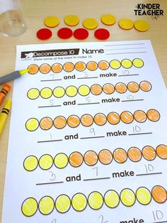 Hands-on activities for teaching students how to decompose numbers