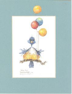 Balloon Bird 10 x 8 matted lithograph Pattern Books, Embroidery Ideas, Chinese Art, Digital Image, Cross Stitch Patterns, Original Artwork, Balloons, Watercolor, Bird