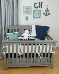 White And Navy Crib Bedding With Aqua And Grey Fabrics For A Nautical Theme  Nursery