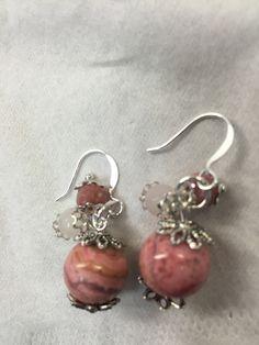 rhodonite earrings, with rhodocrosite and rose quartz