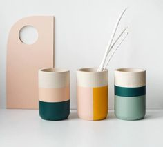 Wooden Vases - Home Decor - Set of 3 for flowers and more - Vertical and horizontal stripes -. Wooden Vases - Home Decor - Set of 3 for flowers and more - Vertical and horizontal stripes - gift for Her Ceramic Painting, Ceramic Vase, Ceramic Pottery, Hand Painted Pottery, Slab Pottery, Ceramic Decor, Painting On Wood, Diy Jewlry, Sycamore Wood