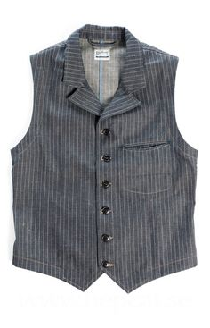 Blue Blanket - V02 STRIPED DENIM VEST - 12oz  - Japanese striped denim 12oz. - 20's style pocket design. - Fish eye buttons in real corozo. - Chambraix linings. - Shuttle loom care label made in Japan.