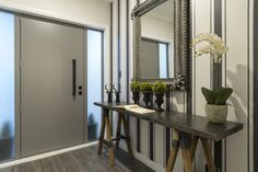 Filter by Kitchen, Bathroom & Neutral Colors, Colours, Grey Doors, Striped Wallpaper, Table Flowers, Console Table, Oversized Mirror, Layout, Greenery