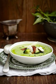 Broccoli Soup with Crispy Bacon and Parmesan Shavings