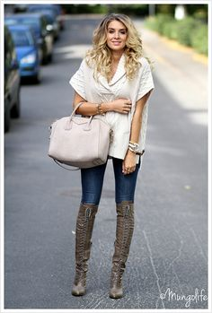 Chunky sweater with jeans and boots