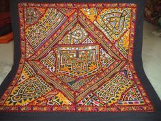 Indian Handmade Decor Wall Hanging Vintage Cotton Embroidered Patchwork Tapestry #Handmade