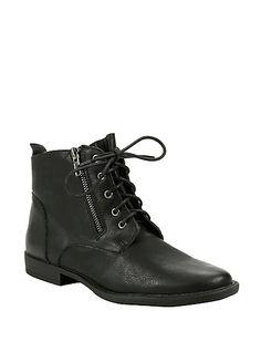 Black Lace-Up Zipper Ankle BootieBlack Lace-Up Zipper Ankle Bootie, BLACK