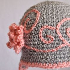 Crochet,Baby,Hats,Hat,with,Flower,Beanie,Grey,Embroidery,Swirls,3,to,6,months,Children,baby_girl_hat,ear_flap_hat,newborn_girl_hat,girl_flower_beanie,crochet_hat,grey_and_pink,embroidery,baby_grace,baby_hat_with_flower,baby_crochet_hat,crochet_baby_hats,baby_crochet,3_to_6_month,Acrylic yarn