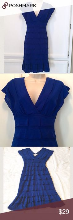 """Studio M Dress This is a royal blue dress in Very Good Used Condition. One of my favorite purchases from Macy's. Only selling because it's now too small for me. It's very soft and stretchy. Waist measures 13"""" across when laying flat. Length is 37"""". ⚜Please see my """"reasonable offers"""" listing at the top of my page before submitting an offer⚜Thank you😊 Studio M Dresses Midi"""