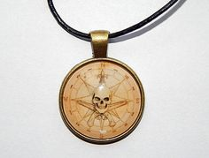 Pirates Compass symbol pendant necklace keychain, old map pendant, Pirates Compass logo jewelry, skull logo jewelry, Pirate Treasure Map