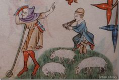 luttrell psalter. c.1340. Interesting cap on the flute player.