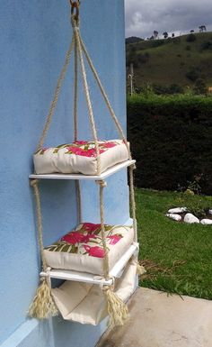 Hanging Bed for Cats - 2 Futons-Hammock . - Hanging Bed for Cats – 2 Futons-Hammock More - Cat Enclosure, Cat Playground, Cat Room, Cat Condo, Pet Furniture, Cat Accessories, Animal Projects, Cat Crafts, Cat Tree