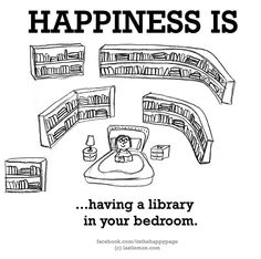 Happiness is having a library in your bedroom . A pin from Last Lemon: The Forever Expanding Archive of Total Global Happiness. I Love Books, Good Books, Books To Read, My Books, Book Memes, Book Quotes, Cute Happy Quotes, Reading Quotes, What Makes You Happy