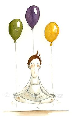 Balloon Illustration, Children's Book Illustration, Watercolor Illustration, Person Sketch, Love Balloon, Yoga Art, Happy B Day, Birthday Messages, Birthday Pictures