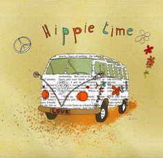 Vintage, Retro, Hippie poster - beautiful art design, VW van.