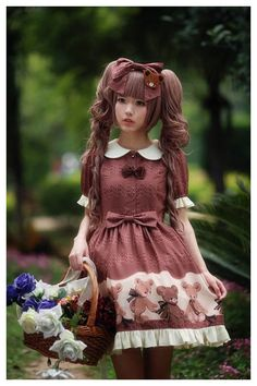 --> Newly Added: Diamond Honey ***Chocolate Bear*** Lolita OP Dress --> Learn more: http://www.my-lolita-dress.com/diamond-honey-chocolate-bear-prints-lolita-op-dress-dh-1