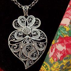 Portuguese Folk silver filigree Viana heart by HelenaAleixoGlamour