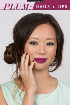 If you're not ready to try color coordinating face makeup, we suggest taking this subtle and oh-so chic approach: match your manicure to your lip color. Choosing a dark color like plum keeps this look grown-up and refined.