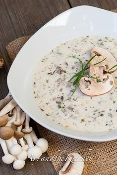 Homemade Mushroom Soup, this the best recipe I've ever made for mushroom soup! artandthekitchen.com