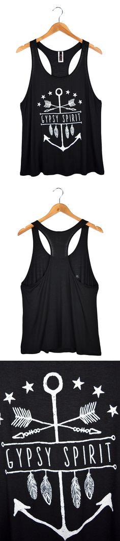 Women's Gypsy Spirit Anchor Racerback Tank Top Black $15.99 #fashion #womenfashion #tanktop #racerback