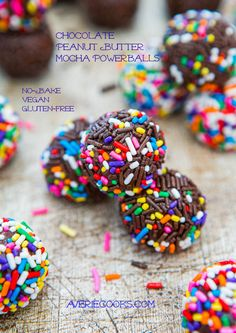 Chocolate Peanut Butter Mocha Powerballs (no-bake, vegan, gluten-free) - use honey in lieu of corn syrup and skip the sprinkles for a truly healthy treat Vegan Sweets, Vegan Desserts, Just Desserts, Delicious Desserts, Dessert Recipes, Yummy Food, Cooking Chocolate, Chocolate Peanut Butter, Ideas Party