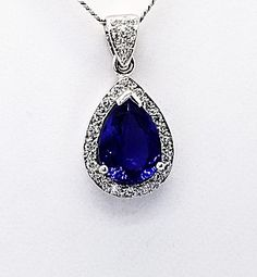 Diamond and Tanzanite pear shape pendant.