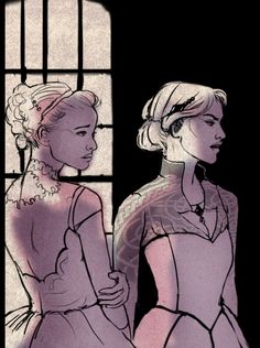 Nesta and Elain by BlogTealDeal. ACOTAR ACOMAF ACOWAR. A Court of Thorns and Roses. A Court of Mist and Fury. A Court of Wings and Ruin. Sarah J Maas. Archeron sisters