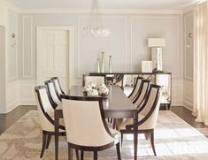 Transitional Cream Dining Room with Curved-Back Chairs