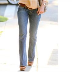 """BCBG Maxazria Jeans First pic of model wearing a similar style of Jeans. Last 3 pics are of actual item/color. Jeans are made of 99% Cotton and 1% Spandex. Waist """"31. 5 Pocket design. BootCut. Length """"42. Rise """"9.5. Inseam """"33. Laying flat """"15.5. This item is NOT new, It is used and in Good condition. Authentic and from a Smoke And Pet free home. All Offers through the offer button ONLY.  Ask any questions BEFORE purchase. Please use the Offer button, I WILL NOT negotiate in the comment…"""