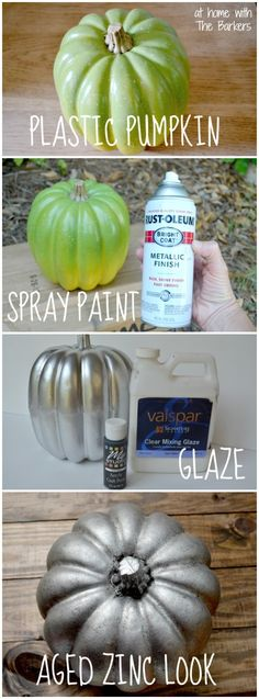 Turn a cheap plastic pumpkin into an expensive looking treasure with an Aged Zinc Look using spray paint and tinted glaze- At Home With The Barkers by lakeisha Fall Crafts, Holiday Crafts, Holiday Fun, Diy Crafts, Design Crafts, Holiday Ideas, Halloween Pumpkins, Halloween Crafts, Halloween Ideas
