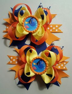 Finding Dory Girls Hair Bows. Set of 2 by Tamiejeansbows on Etsy