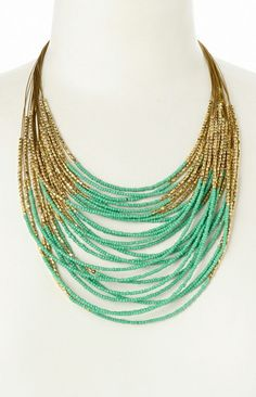 Gold & Mint Beaded Bib Necklace