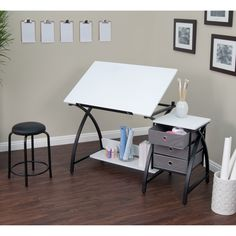 Studio Designs Comet /White Center Drafting and Hobby Craft Table with Stool