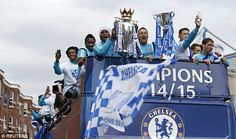 CHELSEA take brakes off their team bus as they travel through west London to parade Premier League trophy...